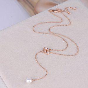 Henri Bendel Zircon Shiny Pearl Y-Shaped Necklace